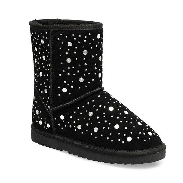 New Rhinestones Rivets Suede Snow Boots