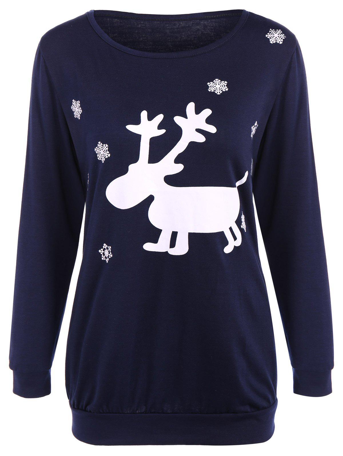 Fawn Patterned Christmas TeeWOMEN<br><br>Size: L; Color: PURPLISH BLUE; Material: Spandex; Sleeve Length: Full; Collar: Jewel Neck; Style: Streetwear; Pattern Type: Print; Season: Fall,Spring,Winter; Weight: 0.266kg; Package Contents: 1 x T-Shir;