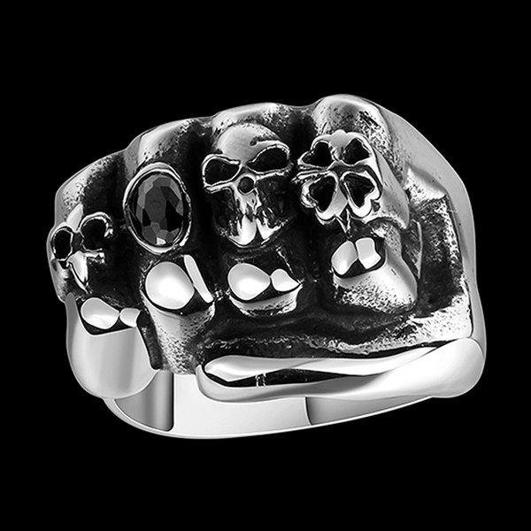 Four Leaf Clover Faux Gem Shape Fist Skull Ring
