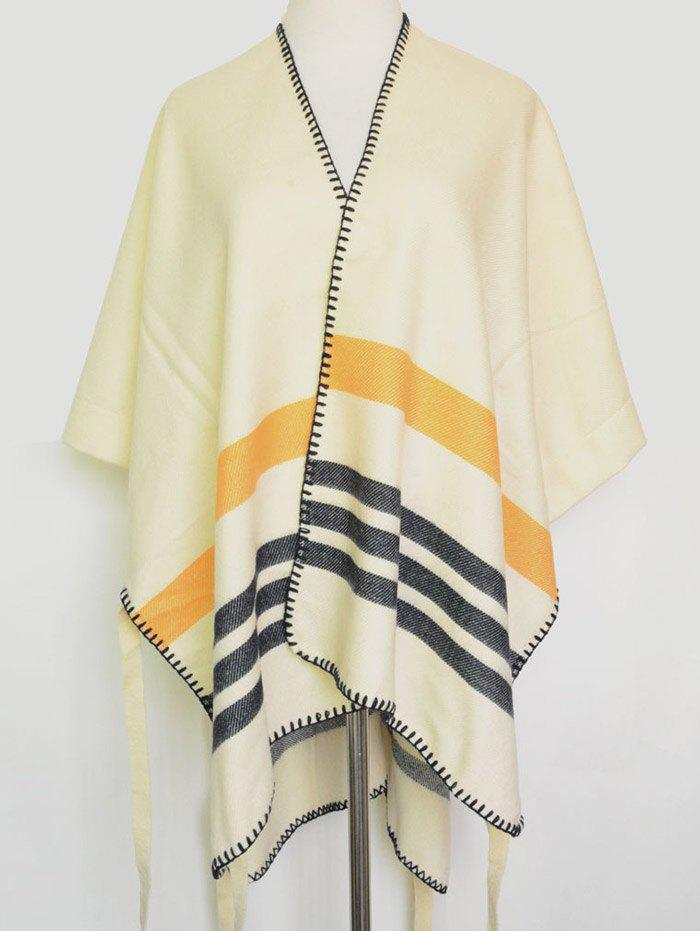 Chic Open Front Striped Hemming Pashmina