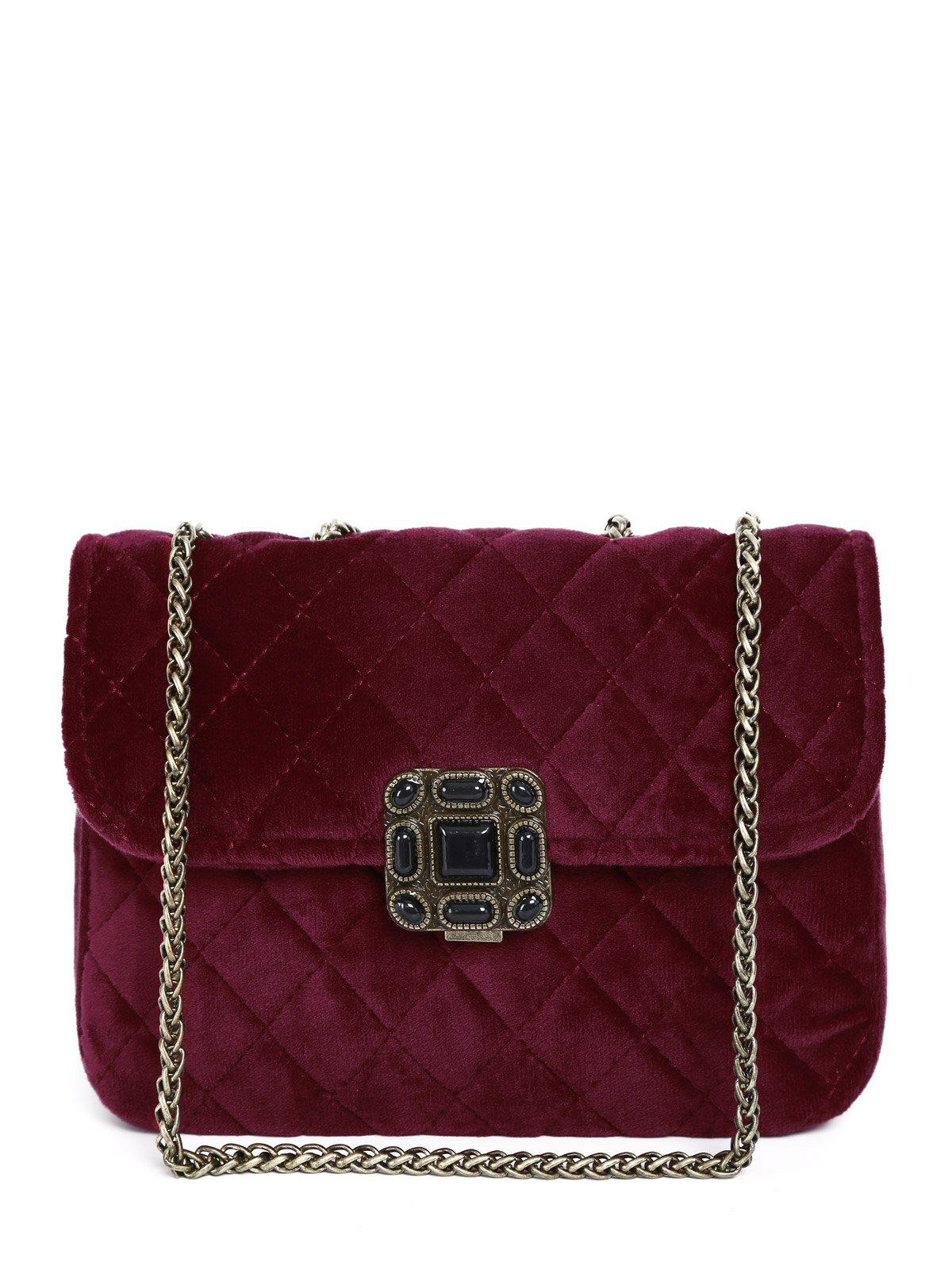 Buy Retro Chains Velour Quilted Bag