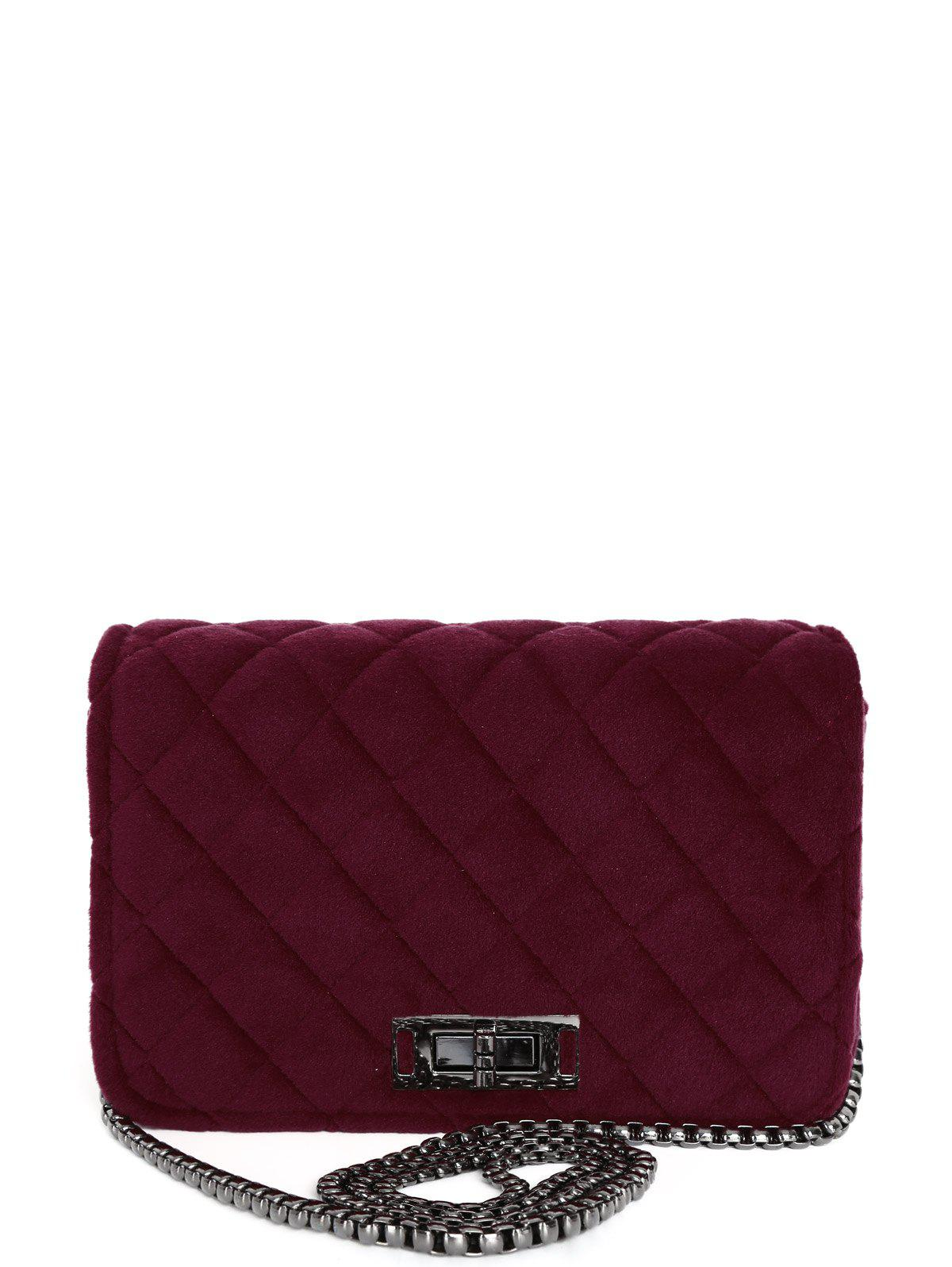 Chic Chains Velour Quilted Crossbody Bag