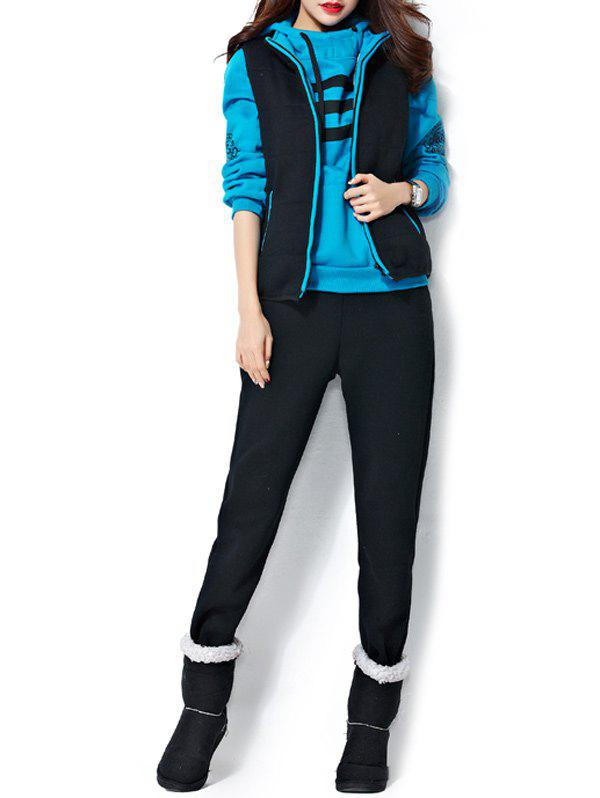 Outfit Varsity Striped Printed Three Piece Gym Suit