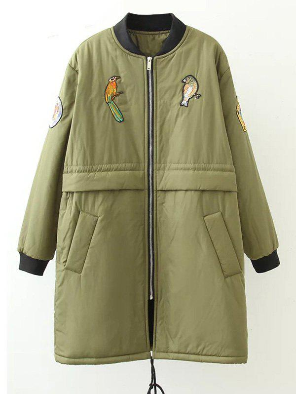 Discount Plus Size Bird Letter Patched Bomber Coat