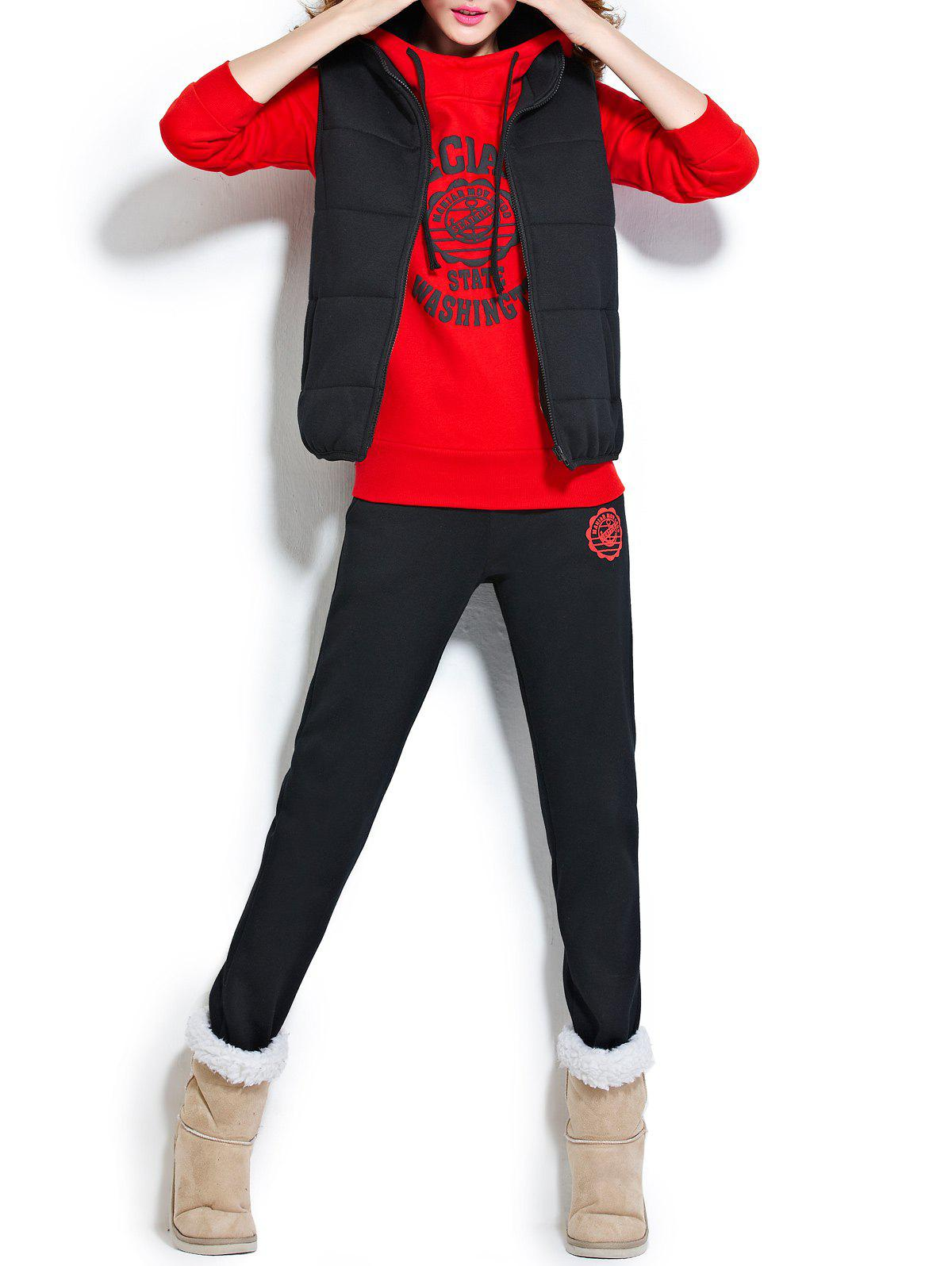 Hooded Fleece Graphic Three Piece Suit Gym