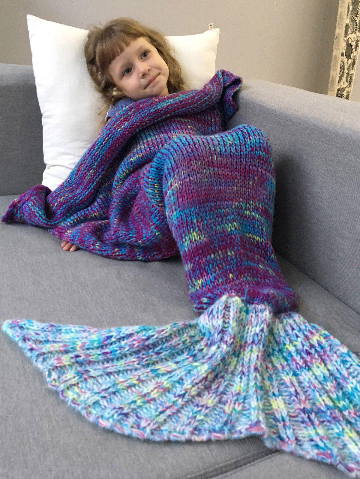 Fashion Warm and Soft Knitted Sofa Kids Mermaid Tail Blanket