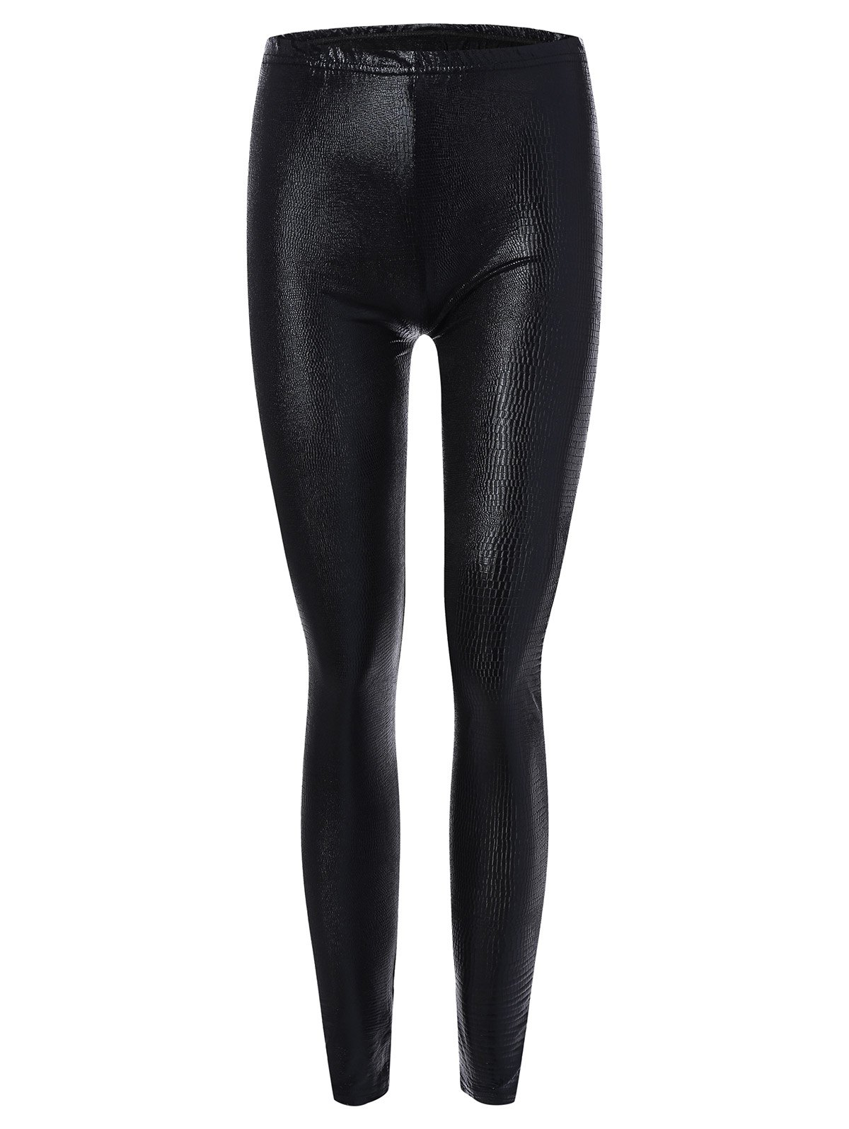 Skinny Faux Leather LeggingsWOMEN<br><br>Size: S; Color: BLACK; Style: Fashion; Material: Polyester; Waist Type: High; Pattern Type: Others; Weight: 0.250kg; Package Contents: 1 x Leggings;