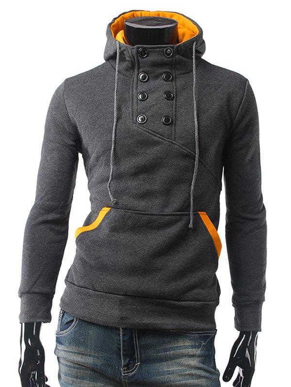 Fancy Contrast Color Pocket Button Up Pullover Hoodie