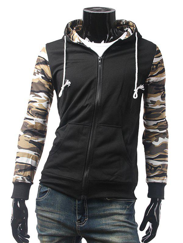 Affordable Camo Insert Pocket Zip Up Hoodie