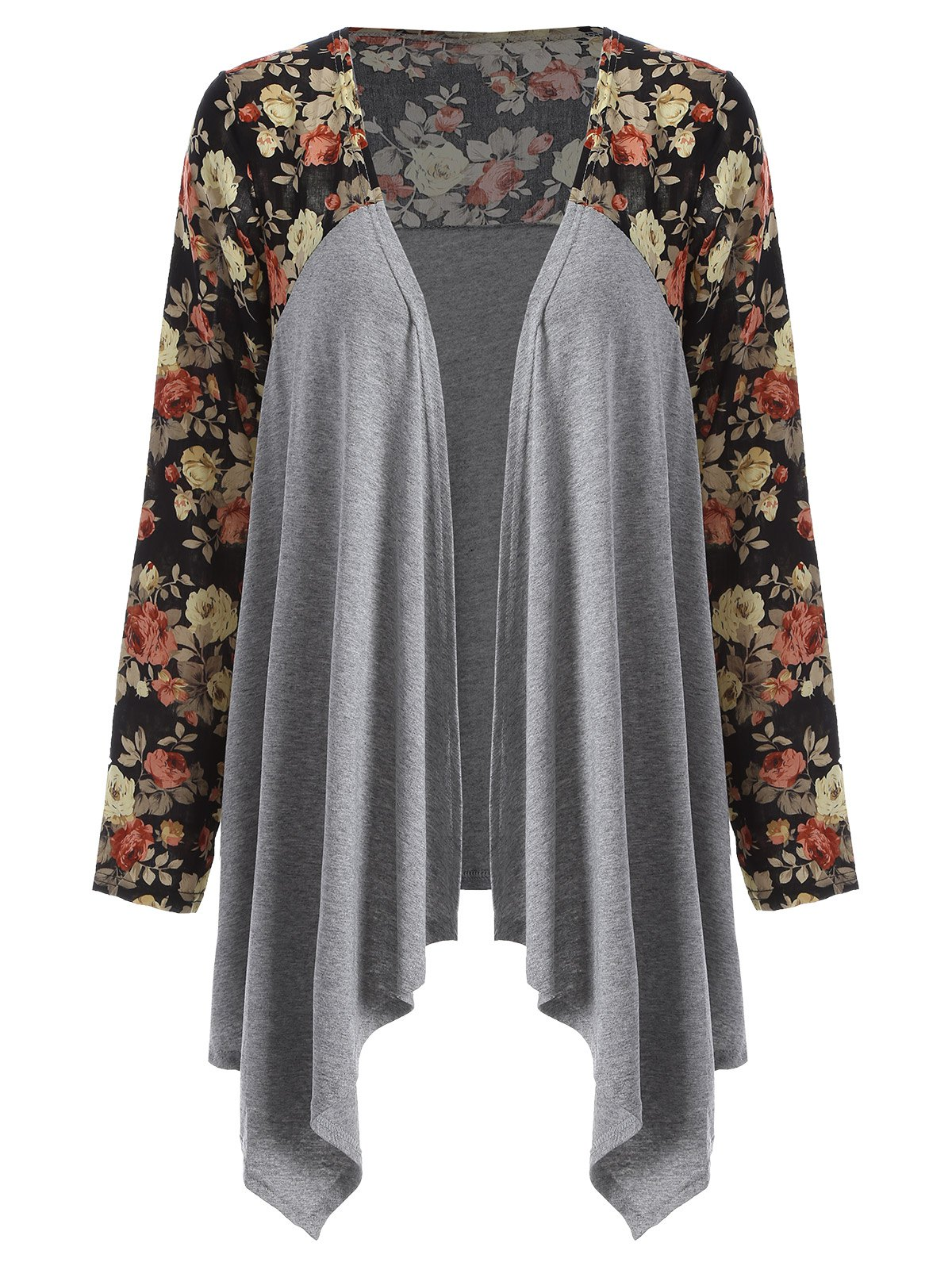 9f0e8b6f5 2018 Floral Open Front Duster Coat In Gray M