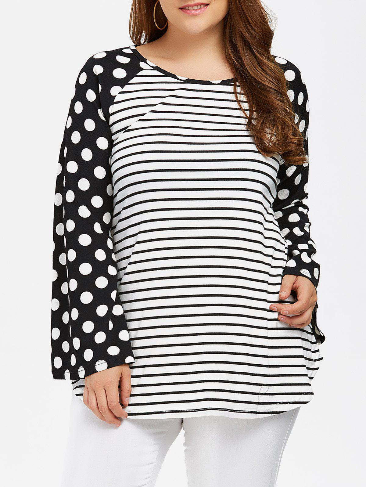 Trendy Polka Dot Trim Bell Sleeve Tee