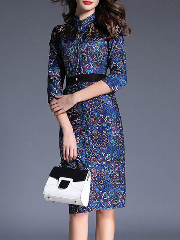 Outfits Floral Print Lace Splicing Double Pocket Bodycon Dress