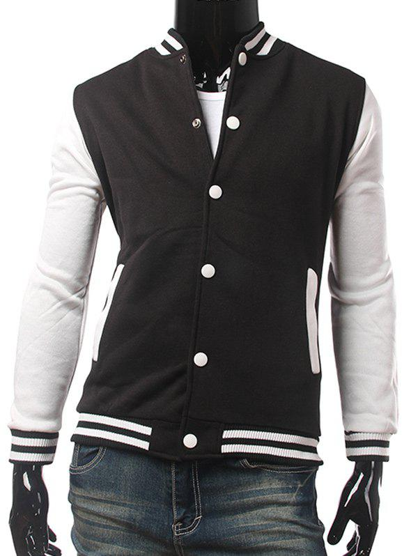 Pied de col Color Block Panel Baseball Jacket Noir M