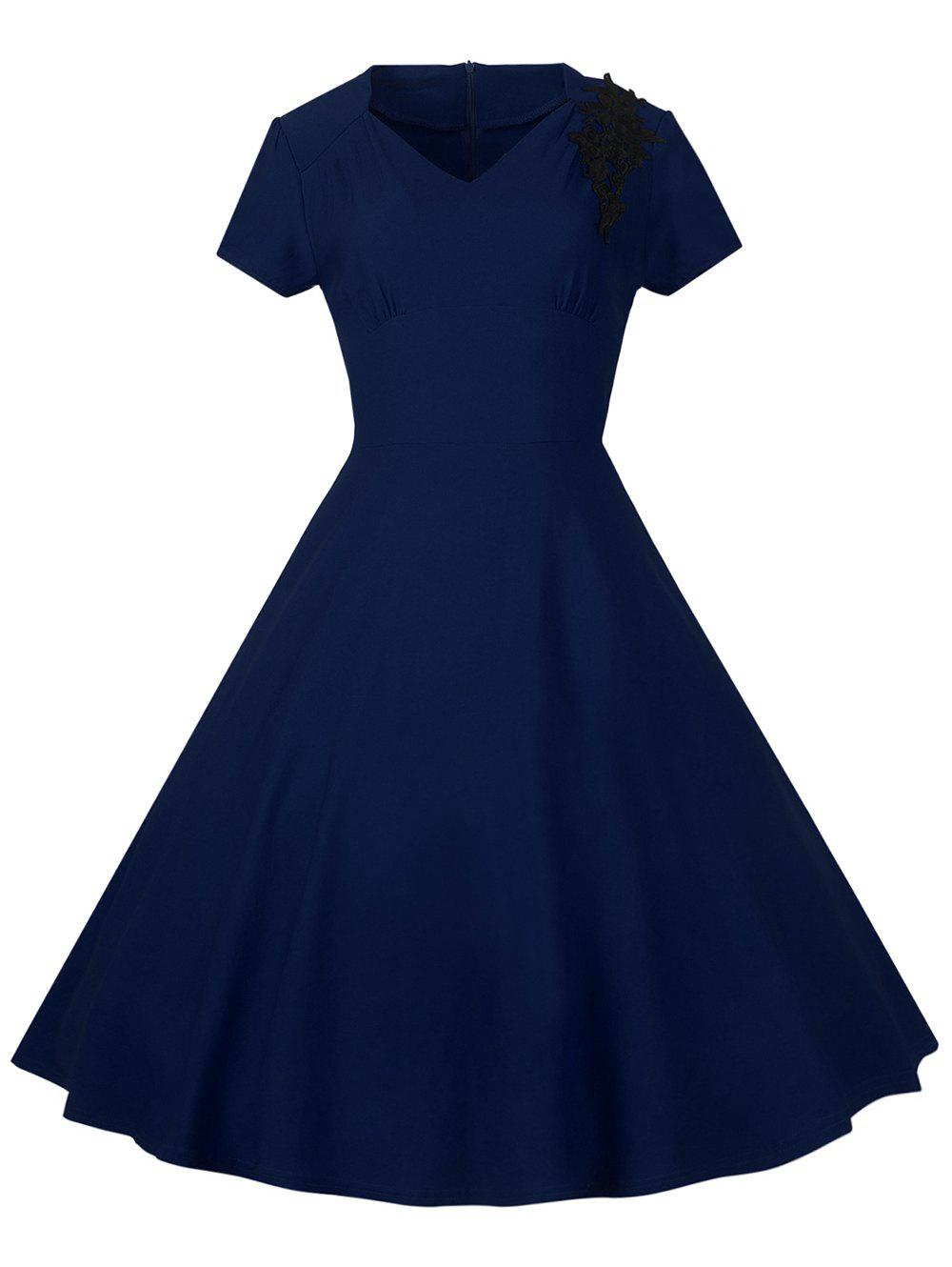 Chic Lace Embroidered Insert 1940S Cocktail Swing Dress
