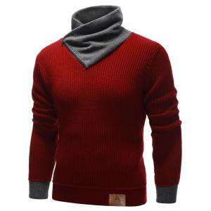 Zip Up High Neck Ribbed Pullover Sweater - BURGUNDY 2XL