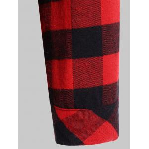 Plaid Pocket Design Buttoned Black Red Hoodie - RED WITH BLACK 2XL