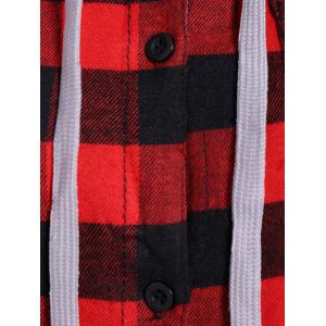 Plaid Pocket Design Buttoned Black Red Hoodie - RED WITH BLACK XL