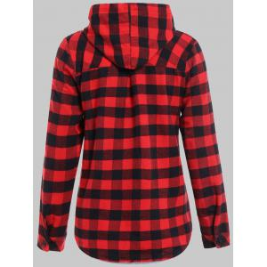 Plaid Pocket design Hoodie boutonné - Rouge et Noir XL