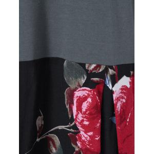 Floral Patchwork High Low T-Shirt - BLACK/GREY M