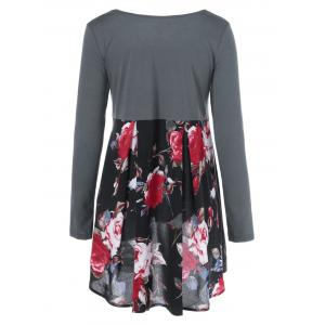 Floral Patchwork High Low T-Shirt - BLACK AND GREY M