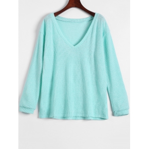 V Neck Long Sleeve Jumper - Light Green - M