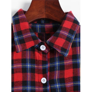 Casual Cold Shoulder Check Plaid Shirt -