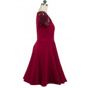 Plunging Neck Lace Panel Swing Dress - WINE RED 2XL