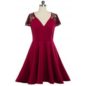 Plunging Neck Lace Panel Swing Skater Dress - Wine Red - L