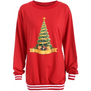 Christmas Tree Varsity Striped Sweatshirt