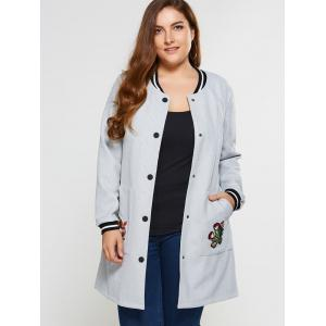 Plus Size Appliques Button Up Coat -