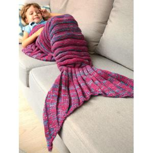 Thicken Soft Knitted Sleeping Bag Kids Wrap Mermaid Blanket - BLUE AND RED M