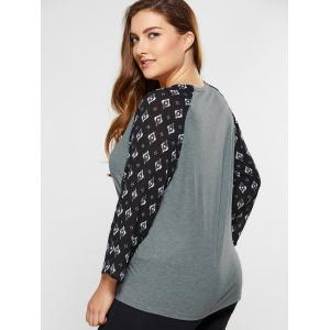 Plus Size Rhombus Print Sleeve Tee - GRAY 5XL