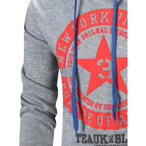 Star Printed Color Block Pullover Hoodie -