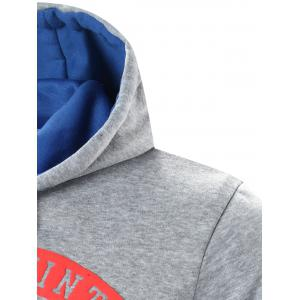 Star Printed Color Block Pullover Hoodie - LIGHT GRAY XL