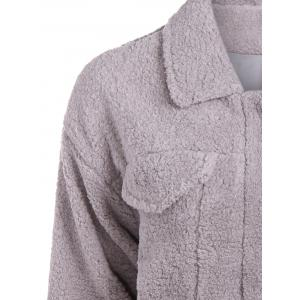 Fuzzy Shirt Jacket - GRAY ONE SIZE
