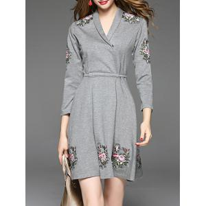 Embroidery Mini Surplice Dress