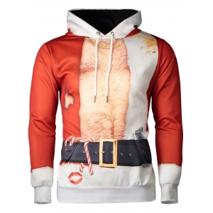 Hooded Father Christmas Costume Lip Print Hoodie - Red - M