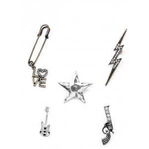 Guitar Gun Rhinestone Star Brooch Set - Silver - M