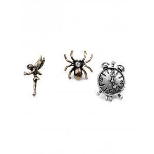 Key Crown Clock Spider Elf Brooch Set - SILVER