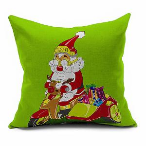 Pillow Cover Cartoon Santa Claus Driving Home Decoration