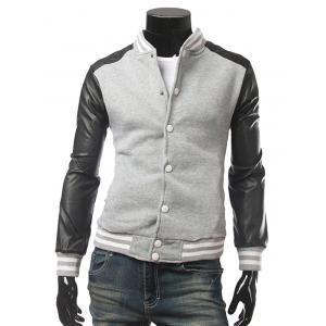 Striped Rib Trim Snap Front Faux Leather Insert Jacket