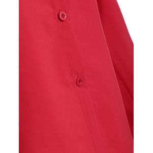 Shirt Neck Bowknot Loose Shirt - RED L