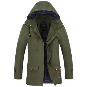 Button Tab Cuff Multi Pocket Zippered Hooded Jacket