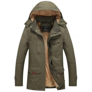 Flocking Multi Pocket Zip Up Hooded Jacket