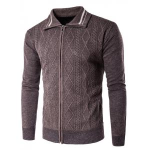 Long Sleeve Rhombus Pattern Zip Up Cardigan