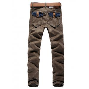 Color Block Pocket Zip Fly Scratched Jeans - DARK KHAKI 36