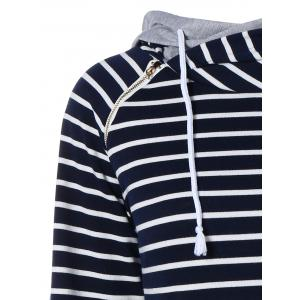 Zipper Drawstring Striped Neck Hoodie - PURPLISH BLUE XL