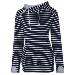 Zipper Drawstring Striped Neck Hoodie