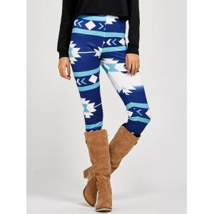 Stretchy Patterned Leggings - Blue - S