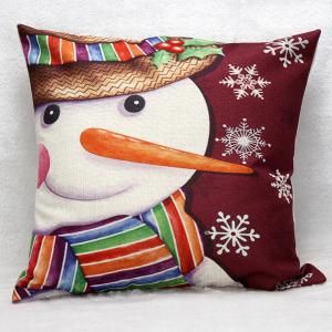 Cartoon Snowman Christmas Cushion Throw Pillow Case - Dark Red - M
